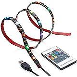 Flux color + iluminación para televisión–pequeño (39in)–USB Powered RGB retroiluminación LED TV con mando a distancia inalámbrico y integrado controlador–Ambiente iluminación de fondo para soporte de televisor HD de pantalla, LCD y monitores–1M