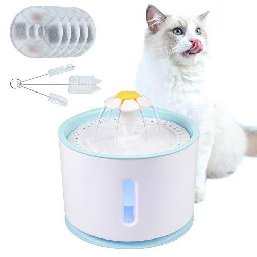 CAMMAY Katzen Trinkbrunnen, USB LED Nachtsicht Elektrisch Haustier Wasserspender 2.5 Liter, Wasserbrunnen mit Karbonfilter für Hunde Katzen, Feeder Automatisch Wasserschale Leise Pumpe - Hund Wasserschale Brunnen