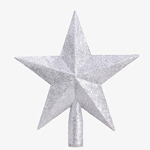 OULII Christbaumspitze Stern Verzierung Glitter Baum Stern Weihnachtsdekoration (Silber) -