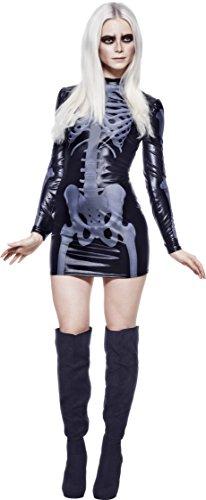 Fever, Damen Miss Whiplash Skelett Kostüm, Bedrucktes Kleid, Größe: L, (Skelett Kostüm Großbritannien Halloween)