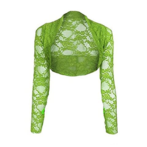 Womens Cropped Lace Shrug Ladies Bolero Apple Green Size S/M
