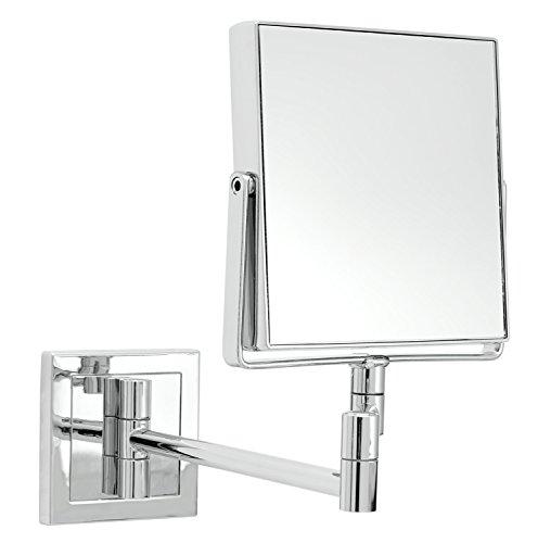 Wand-Kosmetikspiegel quadratisch, 15x32cm (BxL), silber, quadratisch, Metall unbeleuchtet 1 Stück