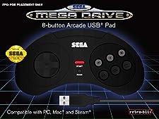 Retrobit - SEGA Mega Drive manette filaire 8 boutons - Conexion USB - Noire