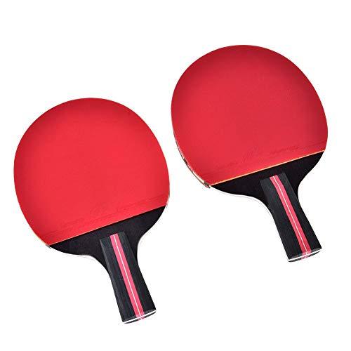 Dioche Ping Pong Schläger Set, Klassisch Schwarz & Rot Tischtennisschläger Profi Spiel Ping-Pong Paddel Set(Penhold)