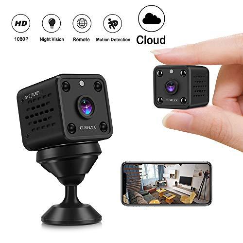 Mini Kamera - Cloud CUSFLYX WiFi 1080P HD Kamera Wireless Tragbar Nanny Cam Haustier Büro Garage Heim überwachungskamera IR Nachtsicht 150° Weitwinkel Bewegungserkennung für IOS/Android (2.4G Only)