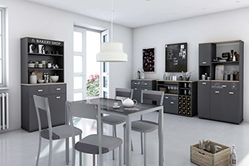 Credenza Cucina Con Cassetti : Abitti credenza da cucina a 4 ante e 1 cassetto colore: grigio