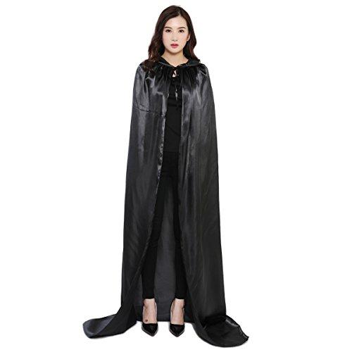 Damen Herren Halloween Umhang Karneval Fasching Kostüm Cape mit Kapuze Schwarz - 3