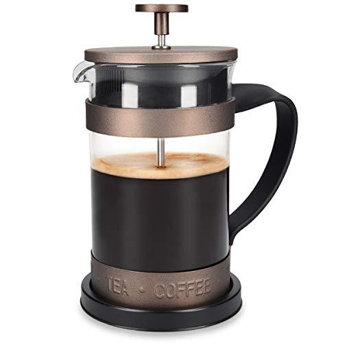 Navaris French Press Kaffeebereiter mit Edelstahl Filter - 600 ml Stempelkanne - 15x10,2x18,2cm - 0,6 l Kaffeezubereiter Presskanne - auch für Tee