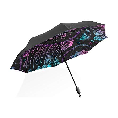 Paraguas invertido Doble Talismán Indio Nativo Americano Plumas Atrapasueños Portátil Paraguas Plegable Compacto Protección contra Rayos UV A Prueba de Viento Viajes al Aire Libre Paraguas para Mujer
