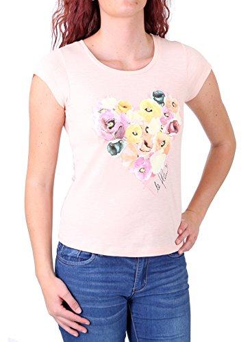 Madonna T-Shirt Damen ARWEN Rücken Spitze Blumenherz Motiv Shirt MF-408078 Apricot M -