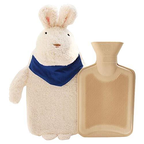 JYCRA Botella de Agua Caliente con Super Suave Peluche Cute Conejo Animal Cover Premium Natural Goma Bolsa de Agua Caliente - Ayuda a Proporcionar Calor y Alivio del Dolor, Caucho, Blanco, 28x20cm preisvergleich