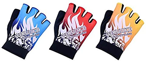 ALLY Half Finger Cycling Gloves, Fingerless Mitts with Light Silicone Gel Pad, Great for Road and Mountain Bike