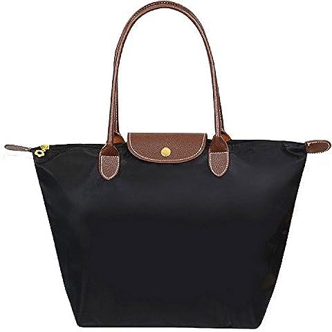 Cabas pour Femme Moyen – ZWOOS Pochette sac à Main Sac de Shopping pour Femme (M, Noir)