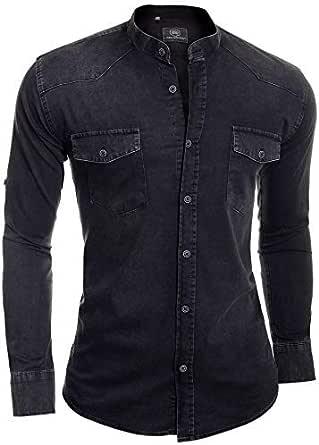 D&R Fashion Men's Denim Grandad Shirt Comfort Fit Front Pockets Band Mao Collar Bleached