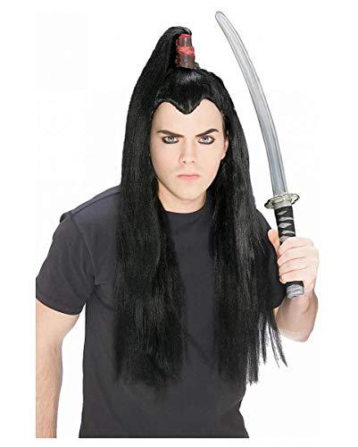 Schwarze Samurai Zopf Perücke (Halloween Geisha Kostüm Make-up)