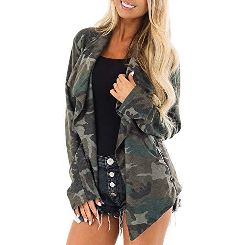 ALIKEEY Damen Winter Parka Langarm Camouflage Print mit Taschen Mantel Cardigan Tops Mantel L Armee-Grün