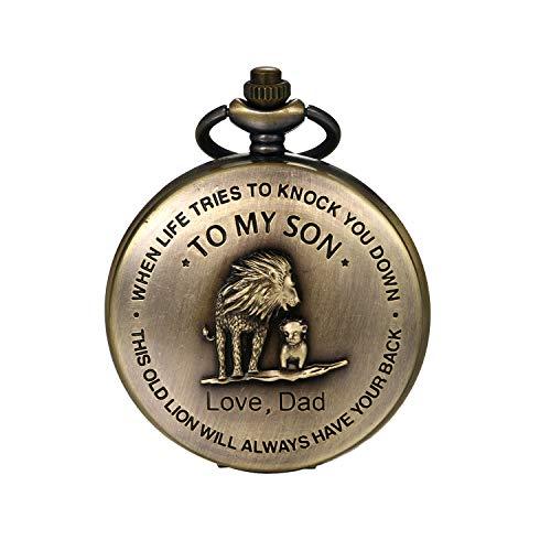 JewelryWe Vatertagsgeschenk Taschenuhr Herren Vintage Löwen Vater und Sohn Analog Quarz Uhr mit Halskette Kette Uhranhänger Pocket Watch
