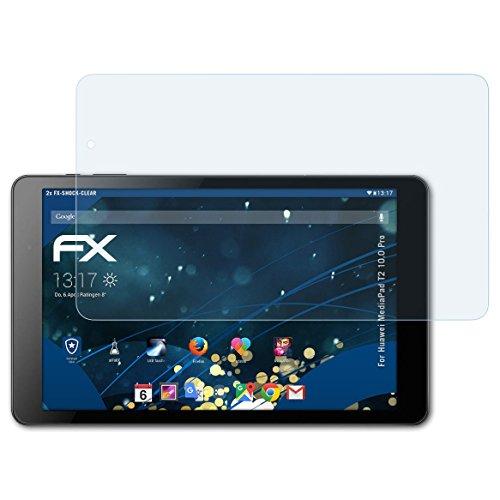 Huawei MediaPad T2 10.0 Pro Folie - 2 x atFoliX FX-Shock-Clear stoßabsorbierende ultraklare Panzerfolie Displayschutzfolie