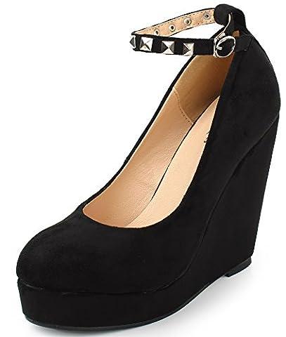 AgeeMi Shoes Femme Escarpin Compensé Femme Plateforme Talon Classique Chaussures,EuD25