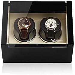 Luxwinder Unisex Zubehör Uhrenbeweger für 2 Automatikuhren powered by Modalo verschiedene Materialien schwarz 6102122