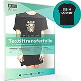 A4 Transferfolie für DUNKLE Stoffe und Tintenstrahldrucker, Transferpapier/Bügelfolie zum Bedrucken und Aufbügeln auf T Shirts und versch. Textilien (8 Blatt)
