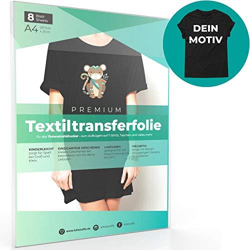 A4 Transferfolie für DUNKLE Stoffe und Tintenstrahldrucker, Transferpapier/Bügelfolie zum Bedrucken und Aufbügeln auf T Shirts und versch. Textilien (8 Blatt) -