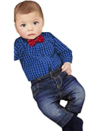 2PCS Bebé Cuadros manga larga Bowknot Caballero Camisa+Denim pantalones ropa Conjunto,Yannerr Recién nacido niña niño primavera vaqueros tejana bordada Jeans top mono abrigada traje