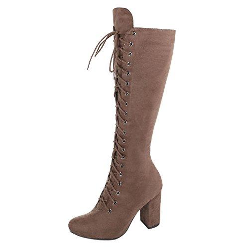 Sapatos Botas Altas Das Mulheres Calcanhar Clássico Bomba Schnürer Zip Ital-design Castanho Claro