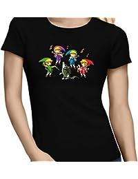 T-Shirt Jeux Vidéo - Parodie de Link de la Légende de Zelda - Orchestre symphonique en Solo :) - T-shirt Femme Noir - Haute Qualité (890)