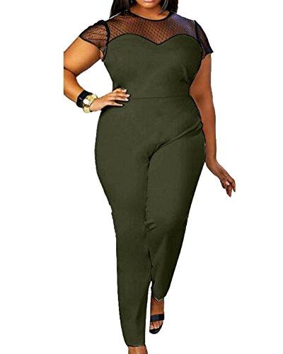 810db627a6da Damen Jumpsuit Rundhals Ausschnitt Kurze Ärmel Übergröße Teiler Hose  Armeegrün L