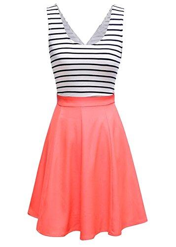 U8Vision Damen V-Ausschnitt Rückenfrei Gestreiftes Strickkleid Rock Kleider Casual Kleider Orange Gr.M (Rock Orange Anzug)