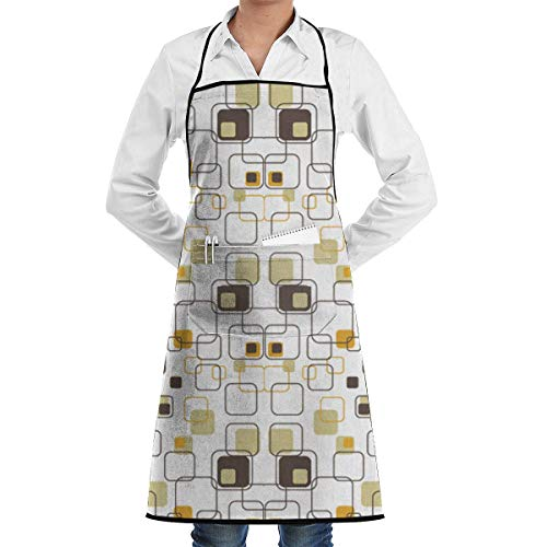 Chef Baker Square (DFHome Restaurant Home Kitchen Bib Apron with Pocket Retro Squares Kitchen Apron Waterproof for Cooking Baker Servers BBQ Chef Servers Waiter Schürze)