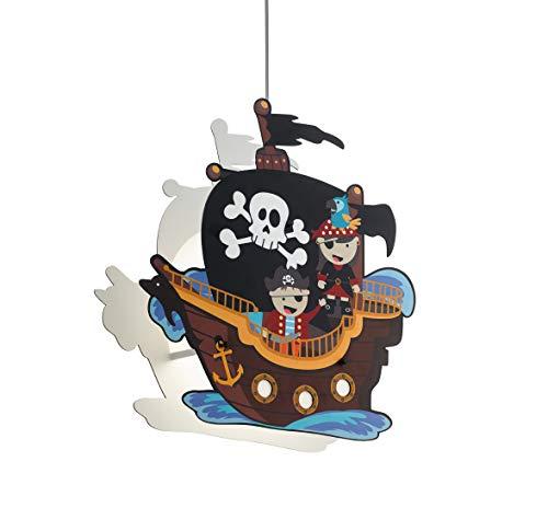 EGLO SAN CARLO Hängelampe für Kinder, Kinderlampe mit Piraten Motiv, Deko für Jungen und Mädchen, Pendelleuchte für Kinderzimmer Bunt, Piratenschiff Lampe, Stahl, 28 W, weiss (Mädchen Hängelampe)