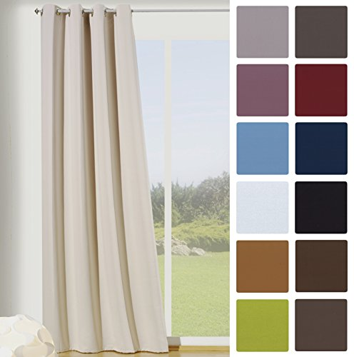 Fashion-and-joy - tenda oscurante termica con occhielli, 245 x 135 cm (altezza x larghezza), elevata qualità crema