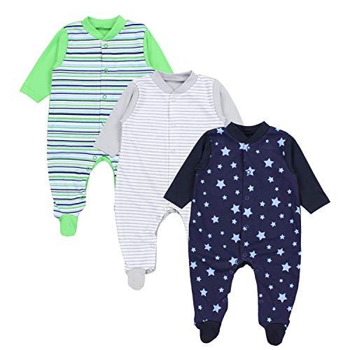 TupTam Baby Jungen Schlafstrampler mit Fuß 3er Pack, Farbe: Farbenmix 1, Größe: 68