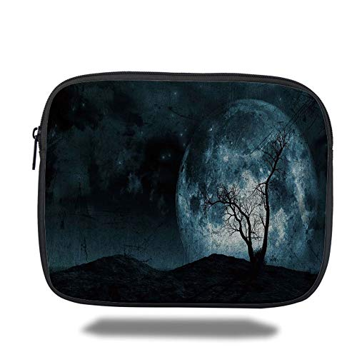 Tablet Bag for Ipad air 2/3/4/mini 9.7 inch,Fantasy,Night Moon Sky with Tree Silhouette Gothic Halloween Colors Scary Artsy Background,Slate Blue,Bag (Fantasia Pro Halloween)