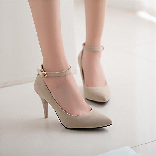 Aisun Damen Sexy Spitz Zehen Low Top Stiletto High Heels Knöchelriemchen Pumps mit Schnalle Aprikosenfarben
