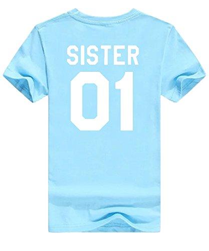 Minetom T Shirt Donna Best Friend Estive Tunica Tops Cime Sister 01 02 Stampa Magliette Manica Corta Tee Casuale Moda Azzurro - Bianca 01
