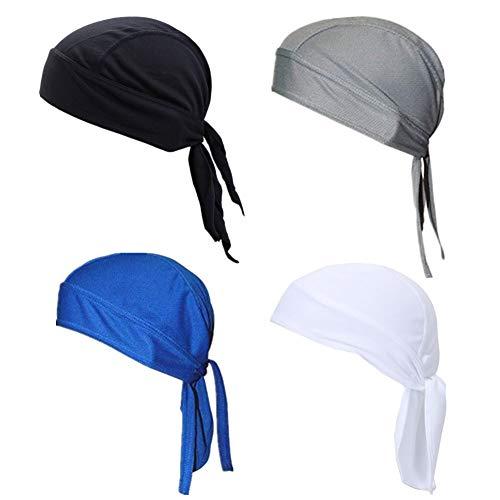 GUIFIER 4 Stück Sport Kopfbedeckung Bandana Schnell Trocknende Kopftuch Atmungsaktiv Schädelkappe Fahrradmütze unter Helm UV Schutz Stirnband Bandana Piratenhut...