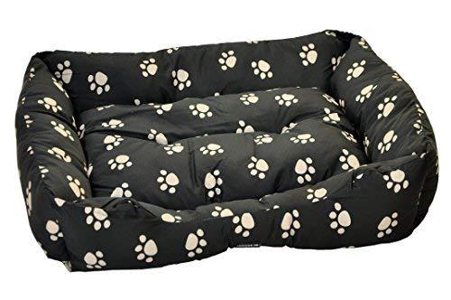 nanook - Hundebett / Katzenbett - schwarz mit weißen Pfötchen, mit abgeflachtem Einstieg - in mehreren Größen erhältlich