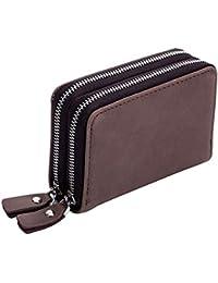 61ab816f4d DcSpring Protezione RFID Porta carte di credito Piccolo in Vera Pelle  Astuccio Portachiavi Portamonete Sottile Portachiavi