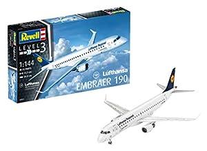 Revell- Embraer ERJ 190 Lufthansa, Kit de Modelo, Escala 1:144 (3937) (03937), 25,3cm (