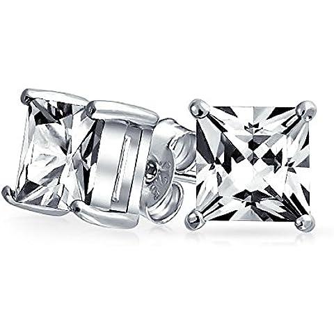 Bling Jewelry Mens Piazza CZ della principessa Cut Orecchini argento 925 10 millimetri