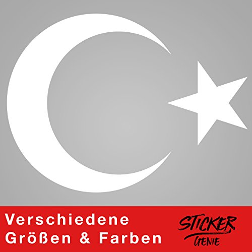 AY YILDIZ - Halbmond Türkiye Wandtattoo Wandaufkleber Sticker Aufkleber (80 (B) x 59 (H) cm, Weiss) (Kinder-wand-sticker-cars)