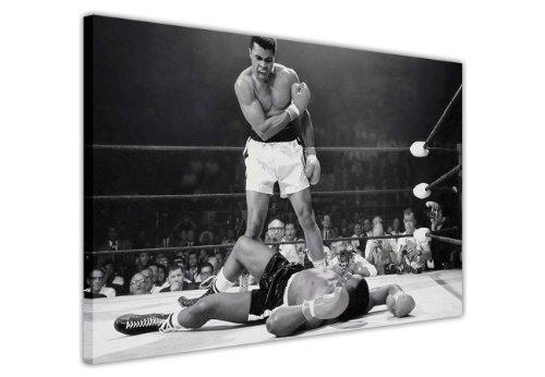 """Bianco e nero stampa Artistica Da Parete Su Tela, motivo: Muhammad Ali Knockout ko Stampa Decorazione Casa Nostalgia Boxe, puntine Tela Legno, Black/White, 6- 24"""" X 20"""" (60CM X 50CM)"""