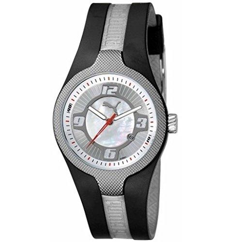 Puma - PU101892001 - Montre Mixte - Quartz Analogique - Cadran Argent - Bracelet Caoutchouc Noir