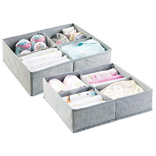 mDesign Baby Organizer im 2er-Pack – große Aufbewahrungsbox mit vier Fächern für Windeln, Feuchttücher etc. – ideal zur Spielzeug Aufbewahrung – grau