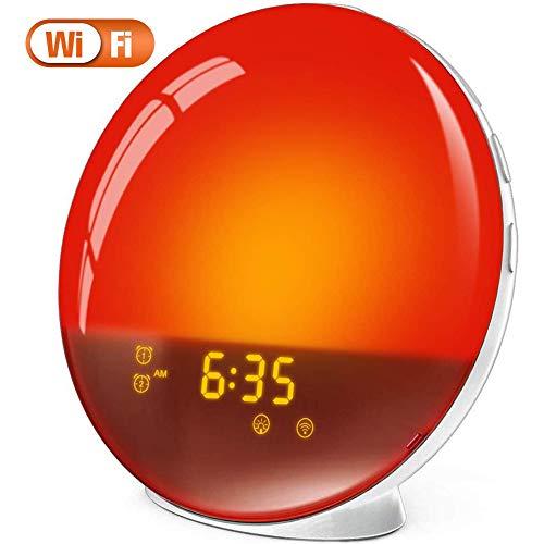 Wake Up Licht Lichtwecker Kompatibel mit Alexa Google Home Tageslichtwecker mit Farbigen Sunset Sunrise Fading Night Light für Schlafzimmer, FM Radio, 4 Wecker, 5 Times Schlummerfunktion
