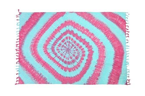 Batik Wickelrock (Original Yoga Sarong Pareo Wickelrock Strandtuch Rund ca 170cm x 1110cm Handtuch Schal Kleid Wickeltuch Wickelkleid Pink Türkis Batik)