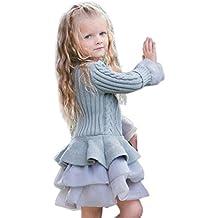 Bebé Chica otoño invierno tops Amlaiworld Bebé suéteres de niña Jersey de ganchillo vestido tutú Tops